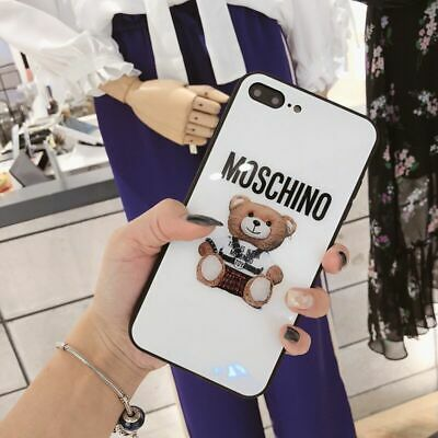 Case For iPhone 7 8 Plus X XS MAX Cover Cover Cute Moschino Bear Glossy Phone