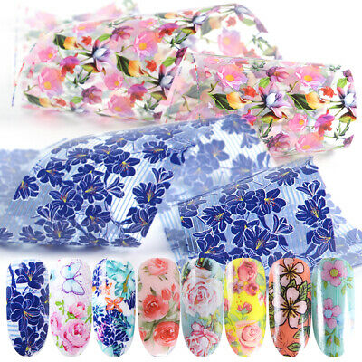 Flower Starry Sky Holographic Decals Nail Art Stickers Nail Foil Manicure Decor