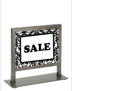 BRUSHED SILVER METAL PHOTO FRAME RETAIL STORE 7¼ x 5¼ COUNTER SIGN HOLDER LOT~2