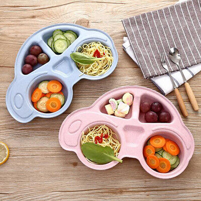Cute Wheat Straw Car Shape Baby Kids Suction Table Food Tray Mat Plate Bowls