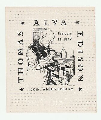 US- Thomas Alva Edison 100th Anniversary  poster stamp with gum but hinged