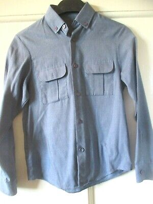 M & S Vintage Boys Blue button down collar  Shirt  age  9-10 yrs height 140 cm