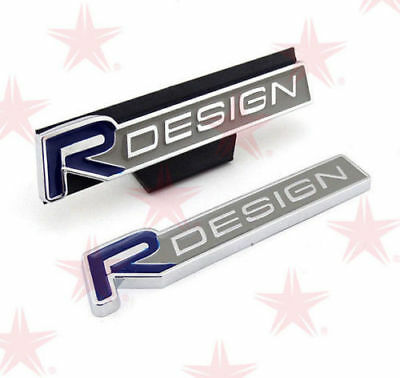 2 X Volvo R DESIGN Silver Blue Front Grille & Rear Boot Badge Emblem Set  VO2