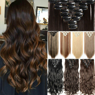 8pcs Full Head Clip in 100% Natural Hair Extensions Long Thick Straight Curly UK