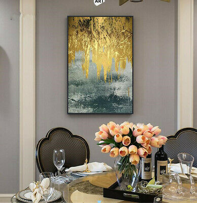 YA111 Hand-painted abstract Landscape Gold foil oil painting on canvas Unframed