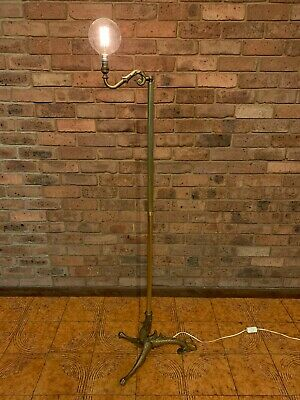 Vintage Ornate Dragon Style Feet Brass Metal Floor Lamp Light