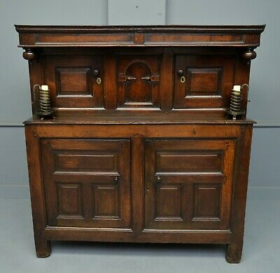 Small Early 18th Century Oak Cwpwrrd Dueddarn Or Two Part Cupboard