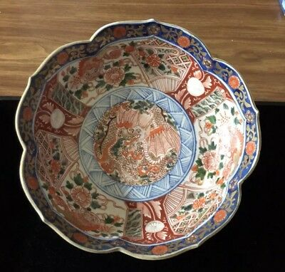 Antique Japanese Imari Porcelain Bowl With Dragons Meiji Period