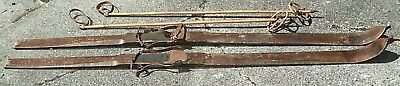 Antique 1920S/30S Norwegian Handmade Telemark/Cross Country Skis With Cane Poles