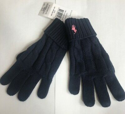 Bnwt Polo Ralph Lauren Junior Girls Cable Knit Winter Gloves One Size (4-6) Navy