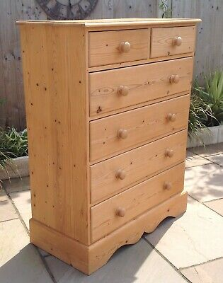 Solid Waxed Pine 2 Over 4 Drawer Chest Of Drawers Dovetails - Delivery Possible