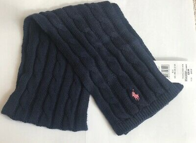 Bnwt Polo Ralph Lauren Girls Cable Knit Scarf One Size ( 2T-4T) In Navy