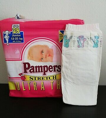 Vintage Pampers Stretch 1x Diaper Sz Junior XL 12-25Kg, 26-55Lbs for Girl HTF- D