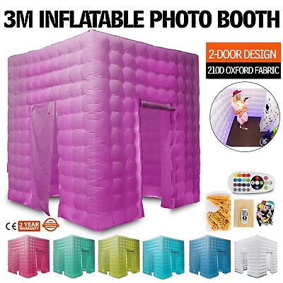 2 Doors Inflatable LED Light Photo Booth Tent 3M Spacious Portable Wedding
