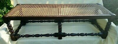 Antique Impressive Turned Leg, Rattan Top  (42Ins Long) Traditional Footstool.