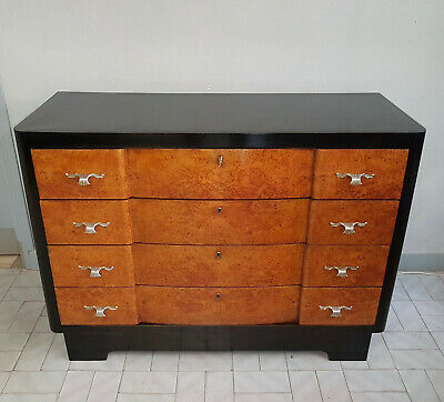 Original Italian Art Deco Black Walnut And Tuya Schest Of Drawers From 1930