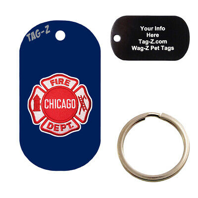 Custom Engraved Pet Tag - Chicago Fire Fighter Patch -  MILITARY SHAPE - Tag-Z