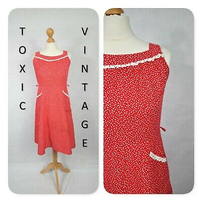 VINTAGE 70s 80s RED DITSY FLORAL SUNDRESS 10. BOHO RETRO CUTE CHIC KITSCH SUMMER
