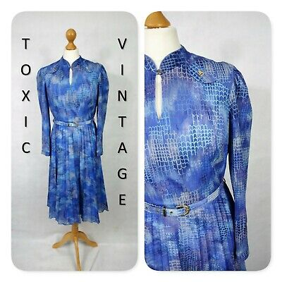 VINTAGE 60s 70s BLUE GEOMETRIC ABSTRACT PRINT TEA DRESS. 12. RETRO CHIC KITSCH