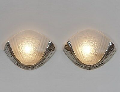 VIARMÉ : PAIR FRENCH ART DECO WALL SCONCES ........  lights 1930 lamp muller era
