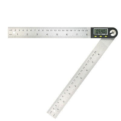 0-200mm Stainless Steel Ruler 360° Degree Digital Protractor Angle Finder N0M9