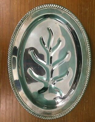 "Vintage 16"" Footed Silver Plate Meat / Carving Platter with Well"