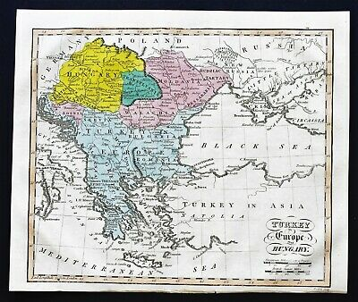 1815 Turkey Hungary Map Morea Romania Transylvania Greece EX- RARE ORIGINAL