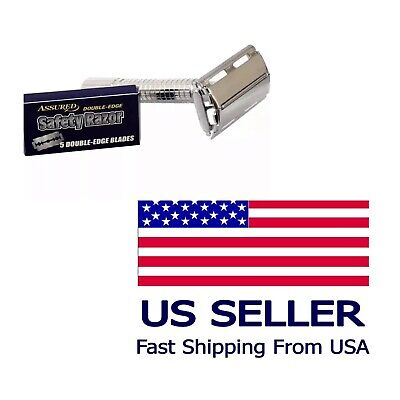 Usa Seller-Stainless Steel Butterfly DE Shavng Safety Razor with 5 Blades Pack