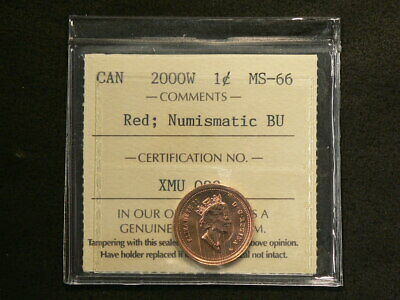 🍁 2000 W Canada Cent ICCS MS 66 Red Numismatic BU #3324