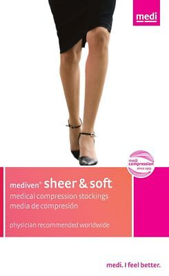 NEW Mediven Sheer Soft Compression Stockings 15-20 mmHg CALF EBONY BLACK