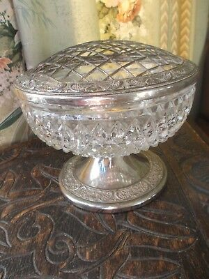 """Vintage """"Grenadier"""" Silver Plated And Pressed/ Cut Glass? Rose Bowl With Pedesta"""