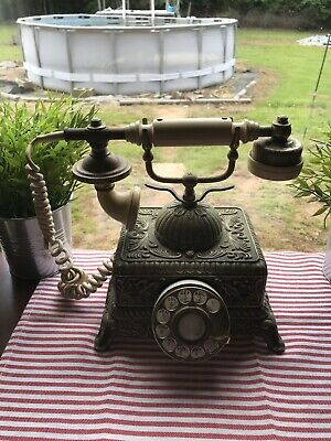 Retro Vintage Ornate Brass Rotary Dial Telephone Victorian Leaf Squared Base