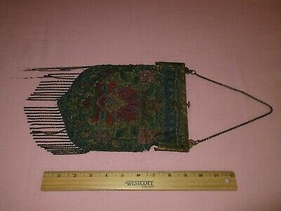 Antique French Victorian Micro Beads Ormula Frame Handbag Purse Bag