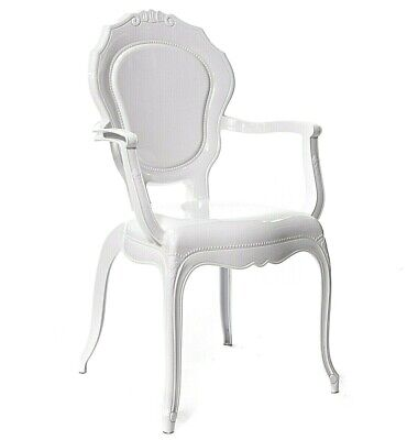 White V2 French Style Arm Chair Quality White Glamour  Dining Modern Chairs.