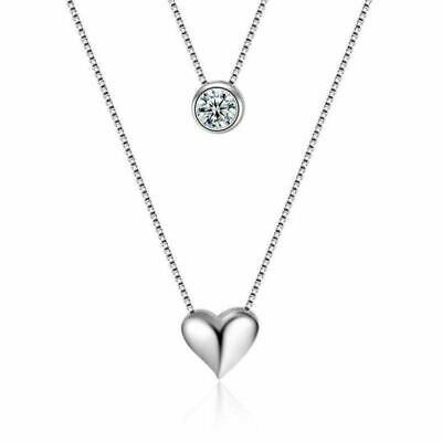925 Sterling Silver Double Layer Heart Crystal Pendant Necklace Choker Jewellery