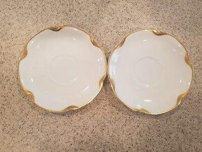 HAVILAND LIMOGES French Porcelain WHITE and GOLD Saucers Set of 2