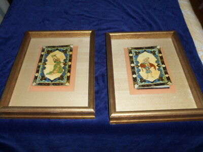 Vintage Pair of Original Persian Oil Paintings on White Board