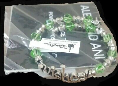 Disney Parks Alex and Ani Bracelet Beaded WISHES Wrap Silver & Green