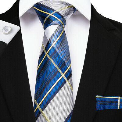 Blue Gray Check Mens Tie Yellow Striped Silk Tie Set Hanky Cufflinks New Arrival