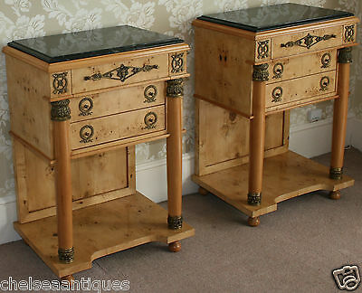 NAPOLEON/EMPIRE FRENCH COMMODES Pair Black Marble Top Satinwood Side Tables Burr