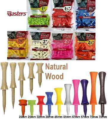MASTERS Plastic or NATURAL WOOD Wooden Graduated CASTLE Golf Tees Tee