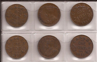 1932 Canada Small Cent 6 Coins Lot