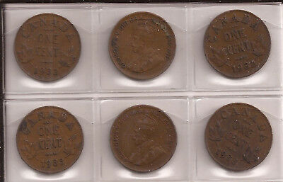 1932 and 1933 Canada Small Cent 6 Coins Lot