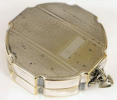 Antique Ornate Silver Plated Ladies Travel Compact & Powder Box High Quality !