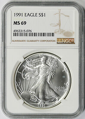 1991 American Silver Eagle $1 MS 69 NGC