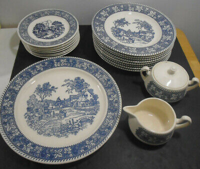 Vintage Homer Laughlin Shakespeare Country Blue Dinnerware Lot Of 19 Pieces