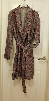 Vintage Grey/Red Men's Paisley Dressing Gown/Robe c.late 70's