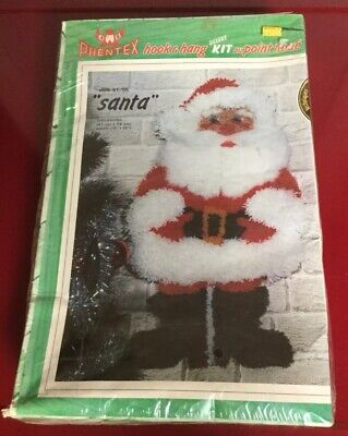 Vintage 1981 Phentex Santa Hook & Hang Deluxe Wall Hanging Kit #51/05 Latch Hook