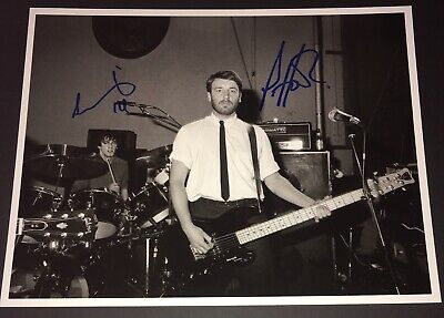 Joy Division Peter Hook Stephen Morris Hand Signed Photo Rare Unknown Pleasures