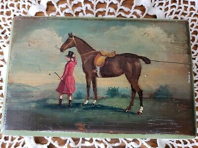 """Antique English Fox Hunt Horse Rider Oil Painting On Wood Box 5.75×3.75""""1 3/8"""""""